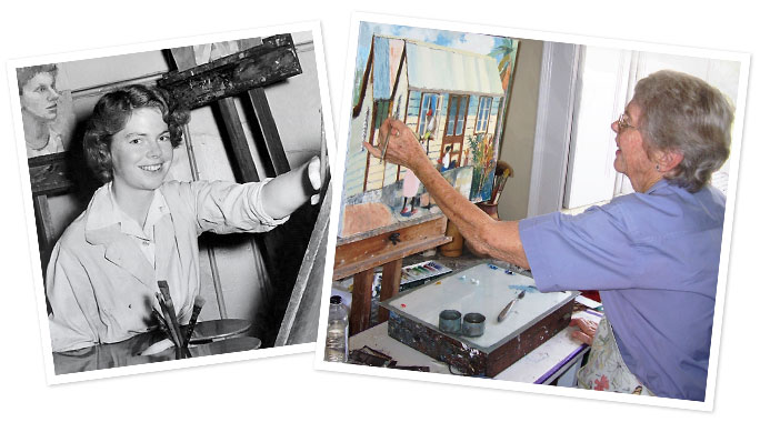 Jill Walker painting - then and now